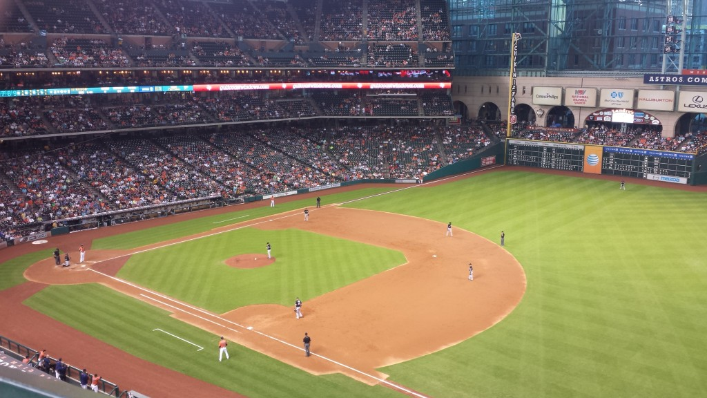 The Astros playing At Minute Maid Park