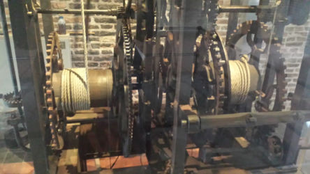 Some of the machinery that makes the clock in the Nieuwe Kerk run. It dates to 1662 (when it was probably the first new pendulum-driven tower clock), but was dismantled in 1938 and then restored in 2004.