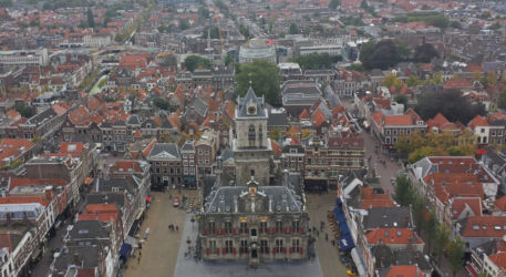A view of the Delft town hall from the highest level of the Nieuwe Kerk's (New Church's) belltower.