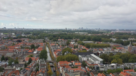 Looking North from the belltower of the Nieuwe Kerk (The Hague is shown in the distance)
