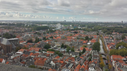 Delft, as viewed from the Nieuwe Kerk's belltower, while looking Northwest (note the Oude Kerk, or Old Church on the right side)