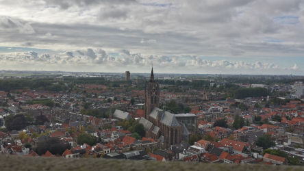 The Oude Kerk (Old Church) and Delft, as seen from the Nieuwe Kerk's (New Church's) belltower