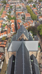 The Nieuwe Kerk itself, viewed from its belltower's highest level.