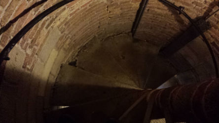 The very steep, very tightly spiraling stairs used to access the belltower. There are 376 steps from ground level to the top (nearly 300 feet!)