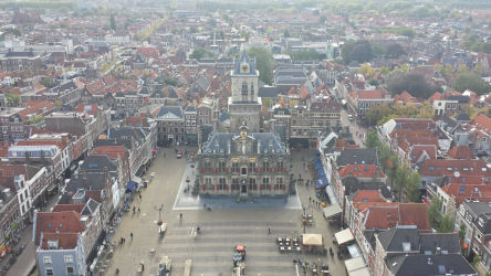 Delft's town hall, viewed from one of the Nieuwe Kerk's lower balconies on its belltower