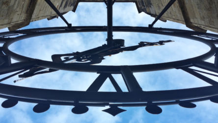 One of the large clocks on the tower of the Nieuwe Kerk