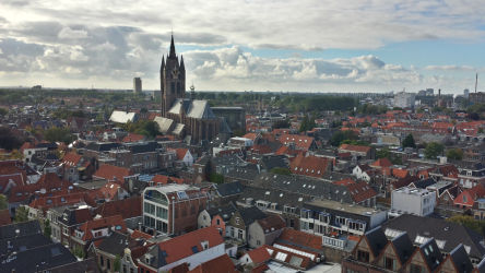 Delft and the Oude Kerk (Old Church) as viewed from Nieuwe Kerk (New Church)