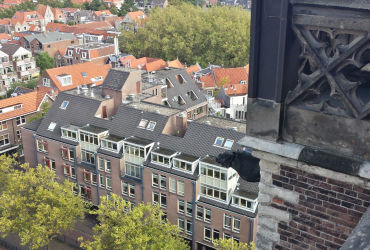 A gargoyle overlooking some Delft apartments