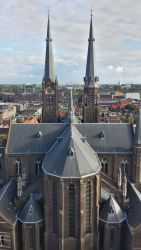A nearly full view of Maria van Jessekerk from the belltower of the Nieuwe Kerk