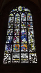 One of the stained-glass windows in the church
