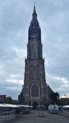 The Nieuwe Kerk, viewed from the ground (with tents being set up for a cheese festival)