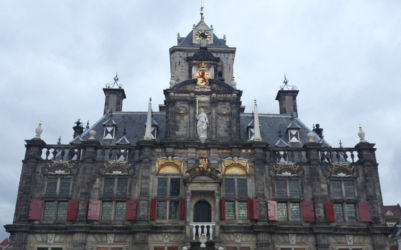 Delft's town hall, viewed from the ground.