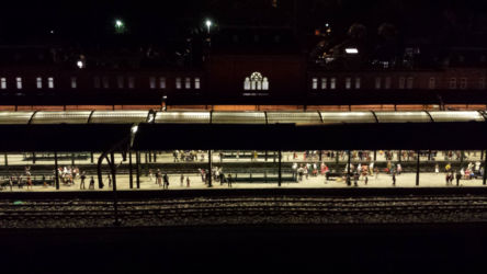 At night the lights of all the structures turn on -- most get harder to photograph, but this train station turned out pretty well.