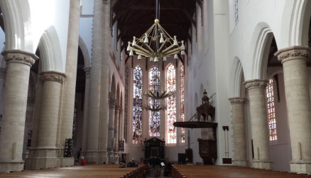 A view of the Oude Kerk from the back of the church (under the organ) looking forward.