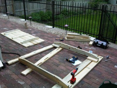 The picnic table, under construction